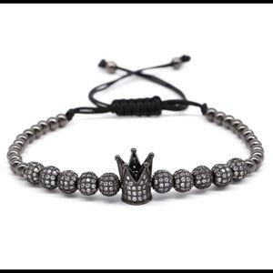 New Fashion Black CZ Balls Crown Beads Bracelet